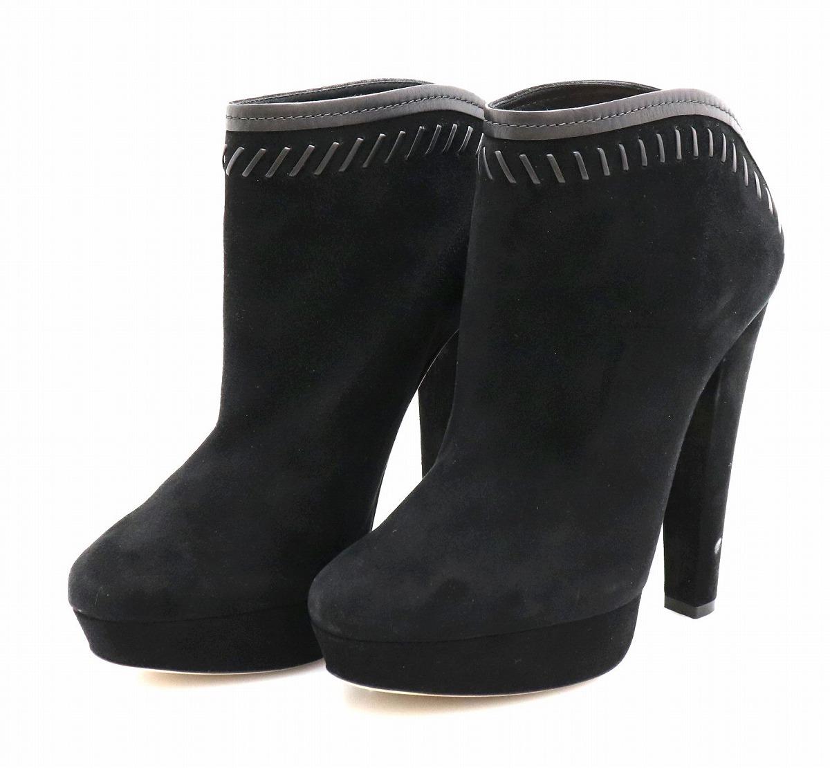 【未使用品】【靴】JIMMY CHOO ジミー チュウ ジミーチュウ ショートブーツ ハイカットスニーカー レザー スエードレザー レディース 黒 ブラック サイズ #38 24.5cm 【中古】【k】