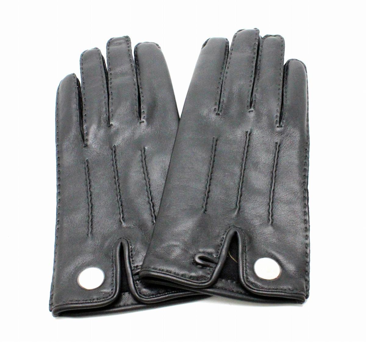 【未使用品】HERMES エルメス セリエ レザーグローブ 手袋 ラムレザー 黒 ブラック シルバー金具 #8 【中古】【u】