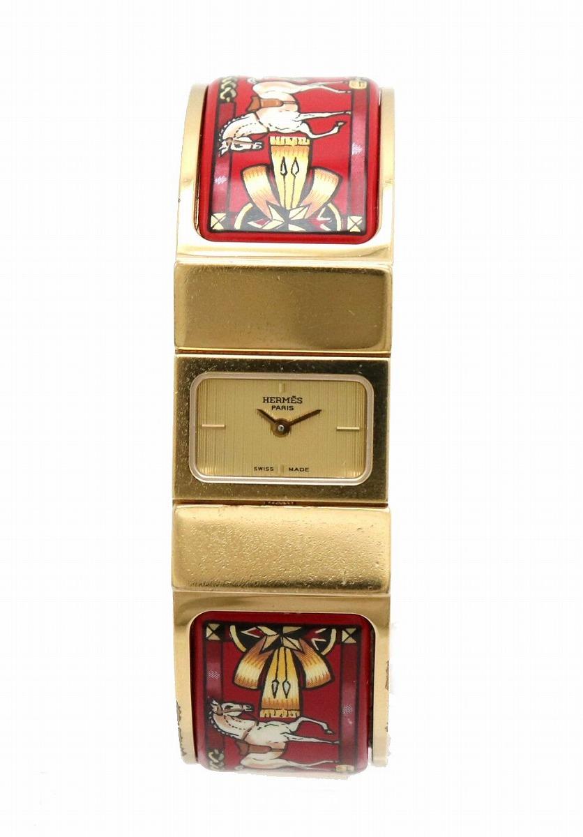 【ウォッチ】HERMES エルメス ロケ 七宝焼き レディース クォーツ 腕時計 バングル ゴールドカラー 赤 レッド L01.201 【中古】【k】