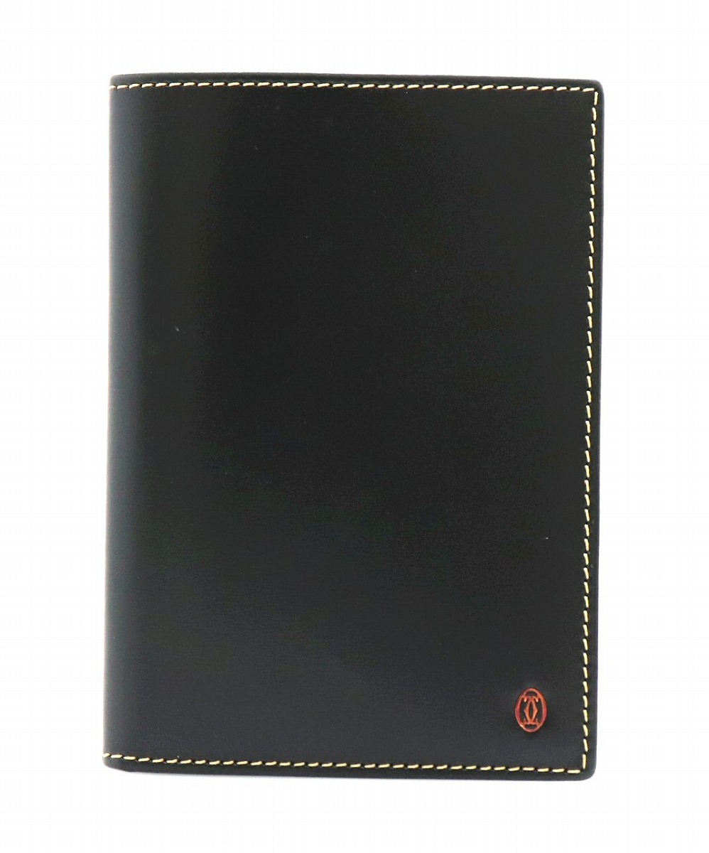 【新品未使用品】Cartier カルティエ パシャ パスポートケース パスケース 手帳カバー トラベル レザー カーフ ブラック 黒 【u】