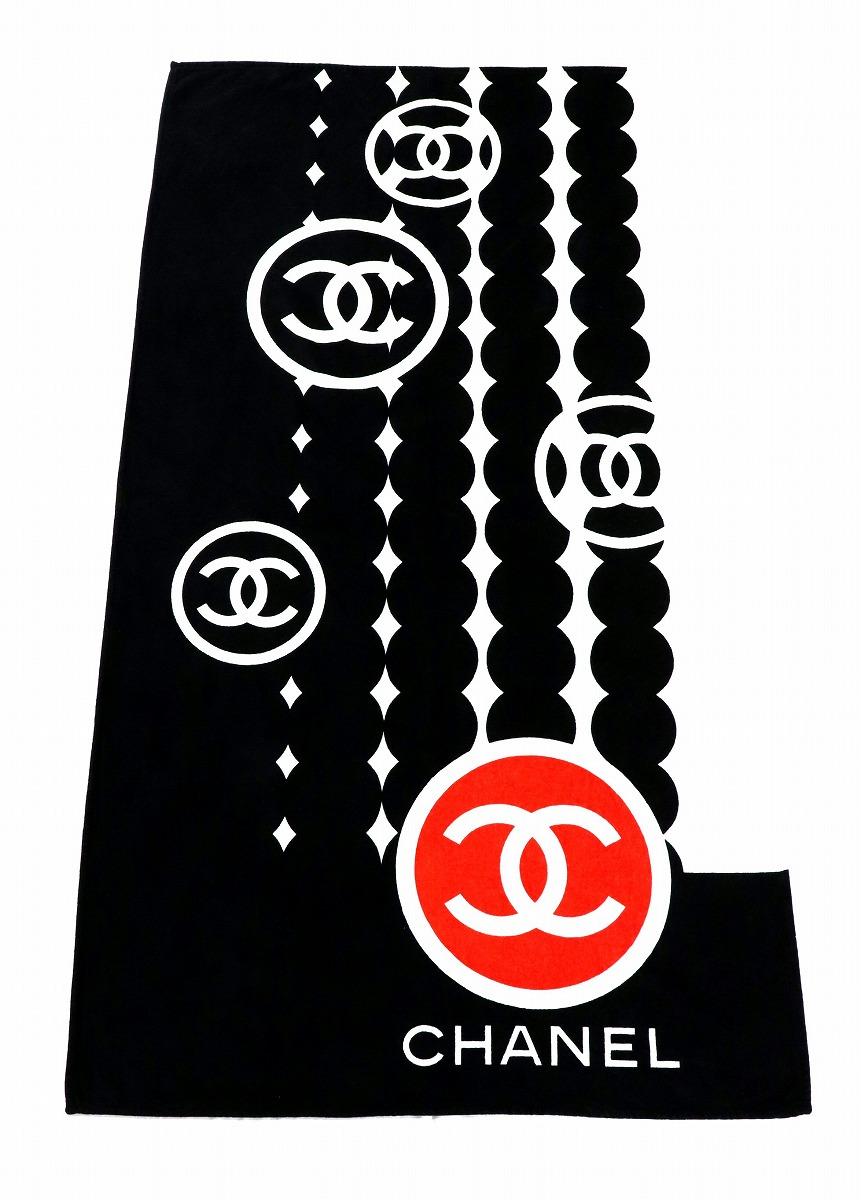 CHANEL シャネル ココマーク ブランケット ストール コットン 綿100% ブラック 黒 ホワイト 白 レッド 赤 【中古】【k】