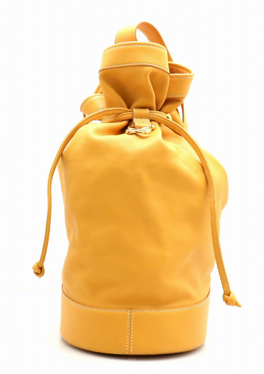 【バッグ】LOEWE ロエベ ショルダーバッグ 斜め掛け 巾着 レザー マスタード イエロー 黄色 ゴールド金具 【中古】【k】