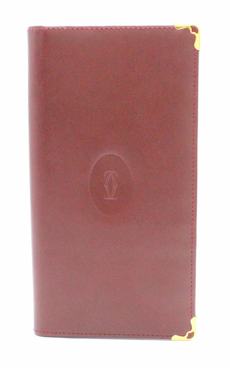 【財布】Cartier カルティエ マスト 2つ折 長札入れ カーフ ボルドー L3000078 【中古】【u】