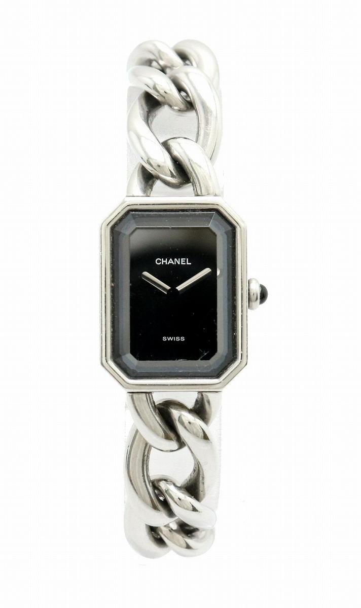 【ウォッチ】CHANEL シャネル プルミエール Lサイズ ブラック文字盤 SS レディース QZ クォーツ 腕時計 H0452 【中古】【k】