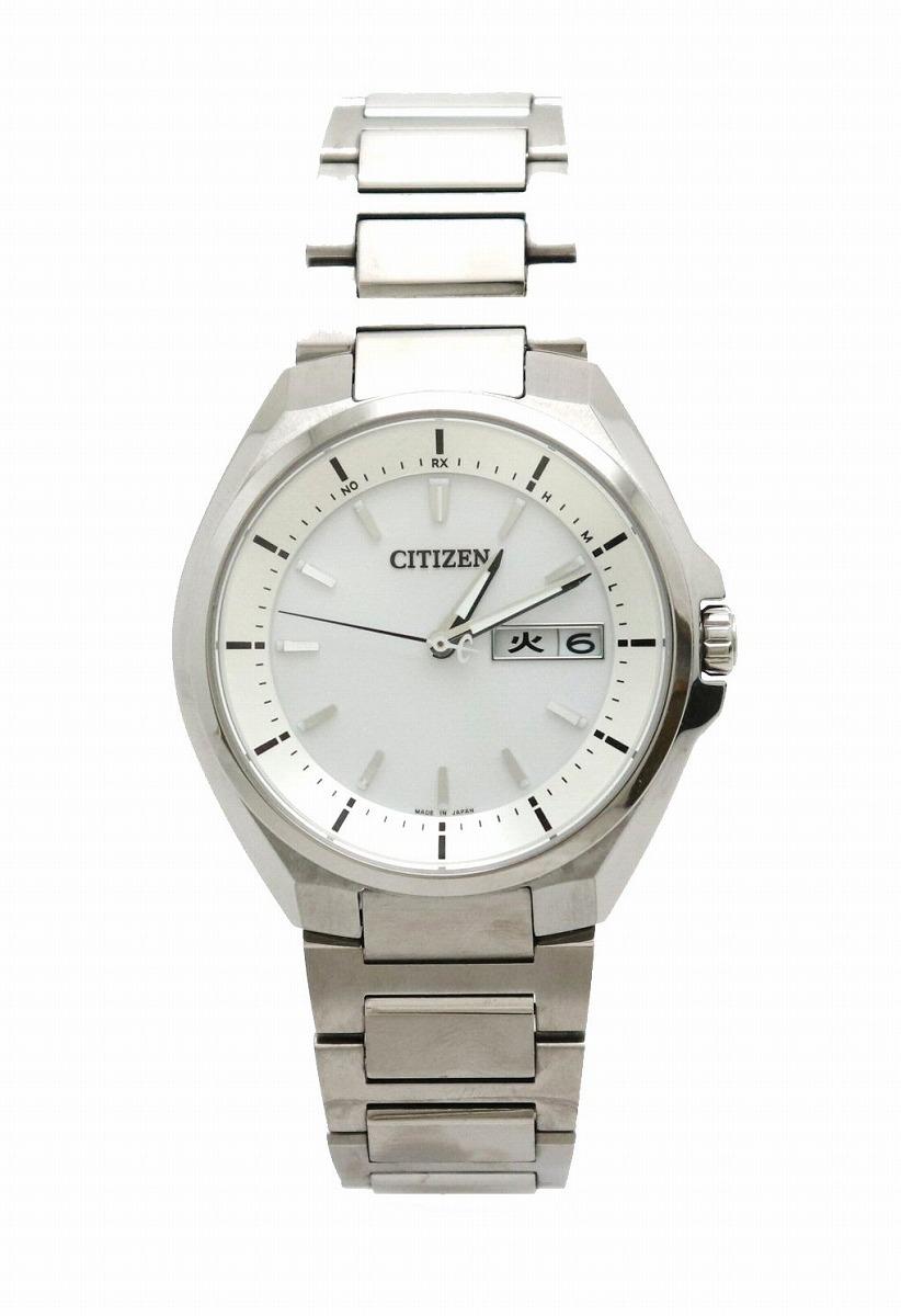【ウォッチ】CITIZEN シチズン アテッサ エコドライブ 電波時計 ソーラー シルバー文字盤 デイデイト メンズ 腕時計 H100-R007556 AT6040-58A 【中古】【k】