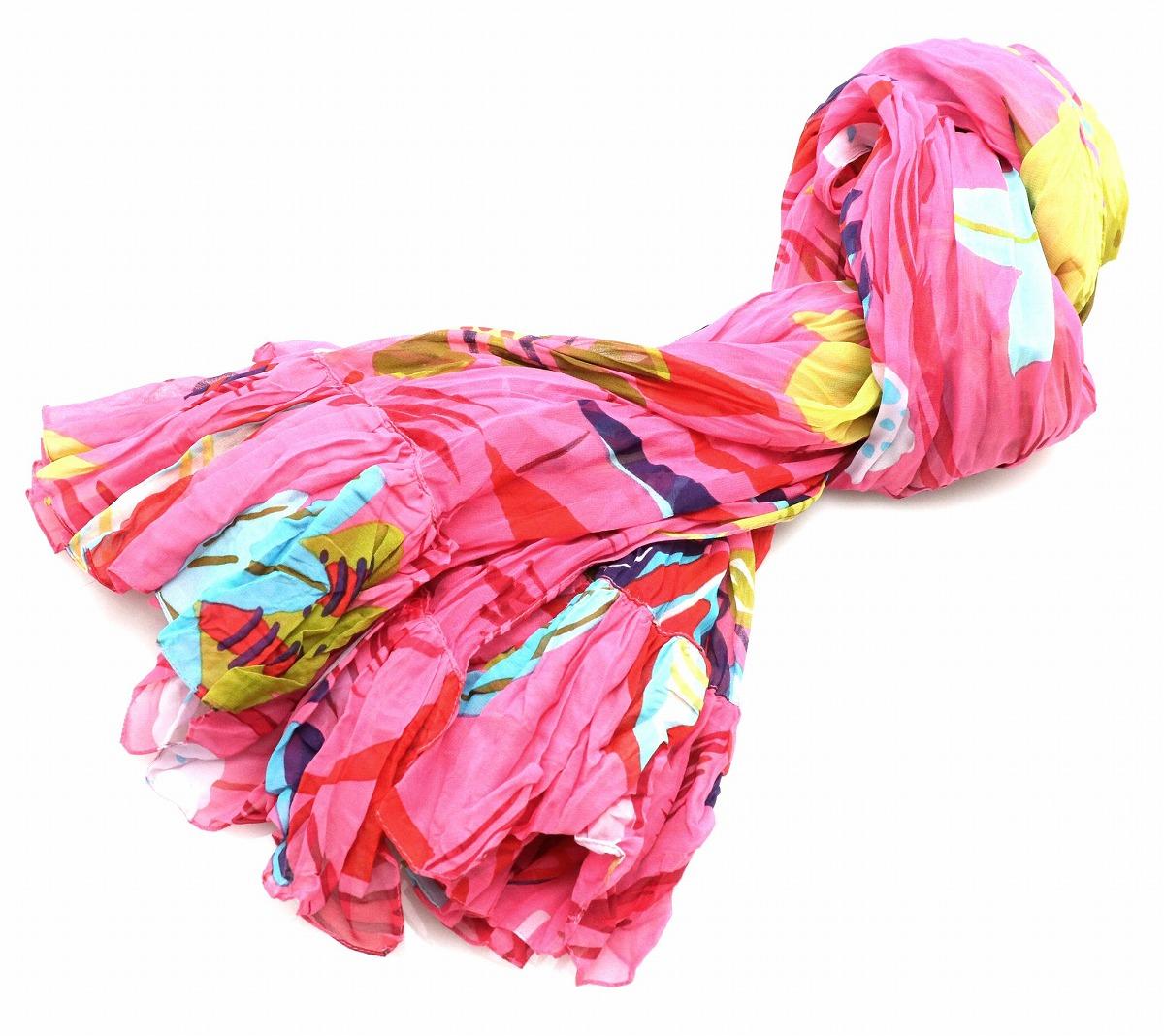 【アパレル】GUCCI グッチ スカーフ 大判スカーフ 絹 シルク100% ピンク マルチカラー 【中古】【k】
