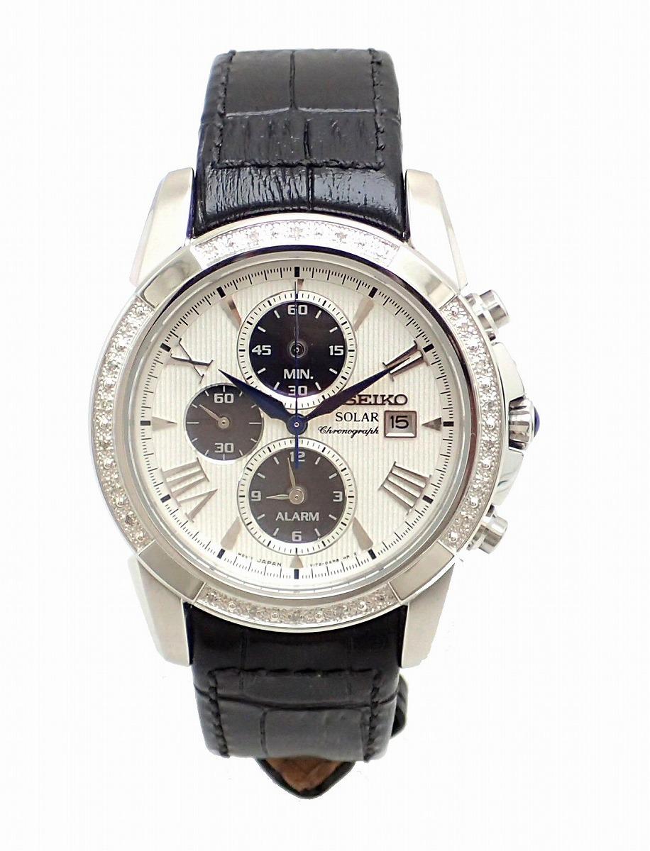 【ウォッチ】SEIKO セイコー メンズ クロノグラフ デイト ダイヤベゼル シルバー文字盤 SS 革ベルト ソーラー 腕時計 V172-0AV0 SSC311 【中古】【k】