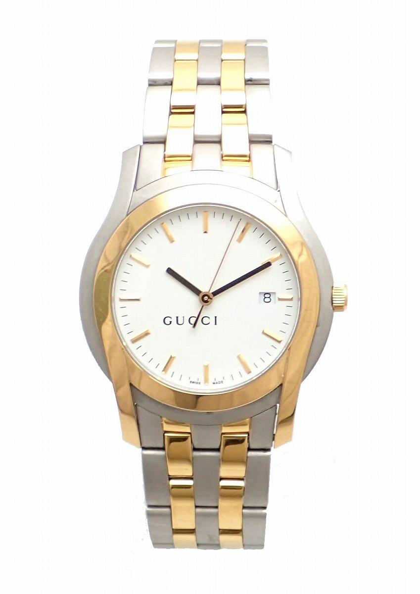 【ウォッチ】GUCCI グッチ ホワイト文字盤 デイト SS/GP コンビ メンズ QZ クォーツ 腕時計 5500XL 【中古】【k】