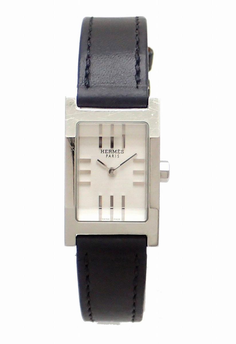 【ウォッチ】HERMES エルメス タンデム シルバー文字盤 SS レザー 革ベルト レディース QZ クォーツ 腕時計 TA1.210 【中古】【k】
