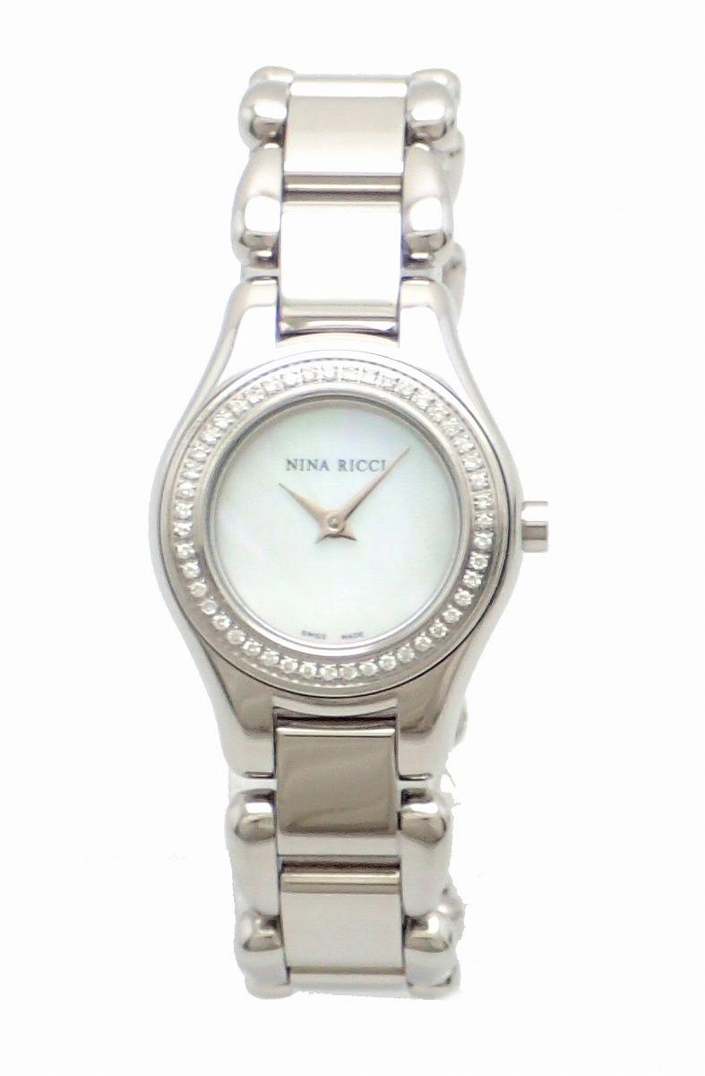 【ウォッチ】NINA RICCI ニナ リッチ ダイヤベゼル シェル文字盤 SS レディース QZ クォーツ 腕時計 N015.13 【中古】【k】