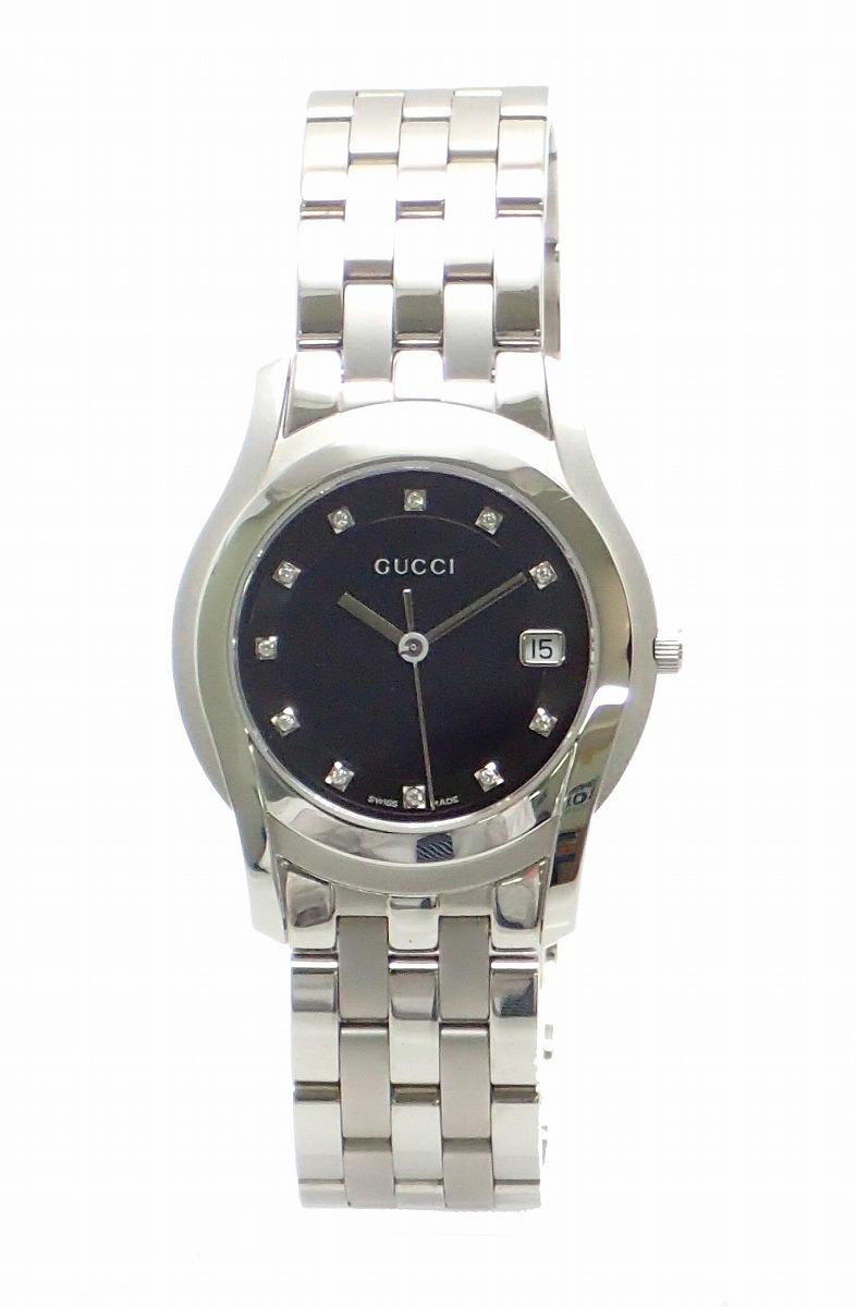 【未使用品】【ウォッチ】GUCCI グッチ 11Pダイヤ ブラック文字盤 デイト メンズ QZ クォーツ 腕時計 5500M YA055303 【中古】【k】