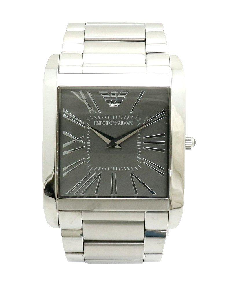 【ウォッチ】EMPORIO ARMANI エンポリオ アルマーニ スクエア グレー文字盤 SS クォーツ メンズ 腕時計 AR-2010 AR2010 AR 2010 【中古】【k】