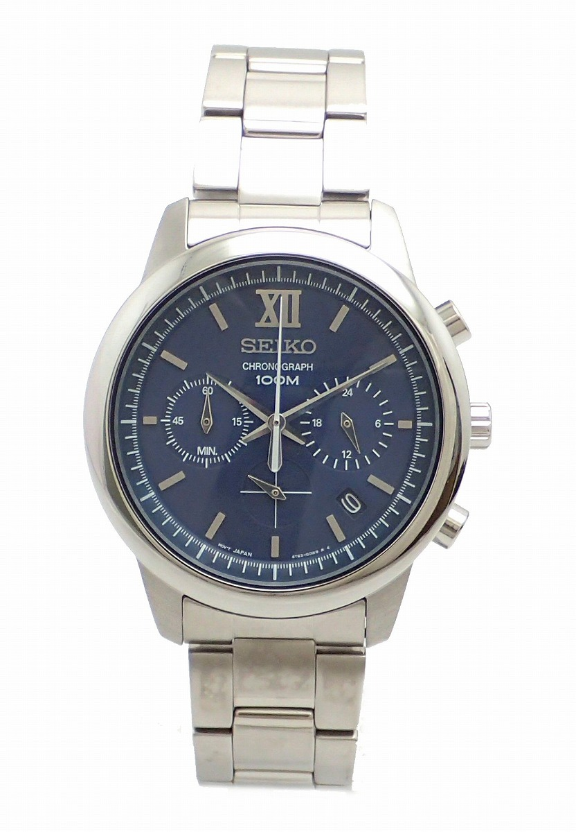 【新品未使用品】【ウォッチ】SEIKO セイコー クロノグラフ デイト ネイビー文字盤 メンズ QZ クォーツ 腕時計 6T63-00N0 SSB137P1【k】