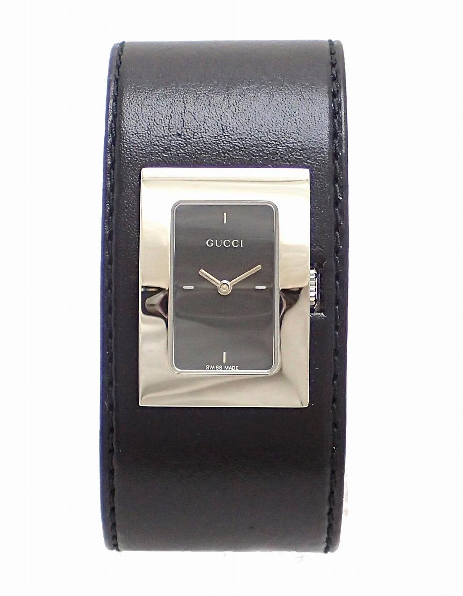【未使用品】【ウォッチ】GUCCI グッチ レザー バングル ブラック文字盤 SS レディース クォーツ 腕時計 7800L YA078506 【中古】【k】