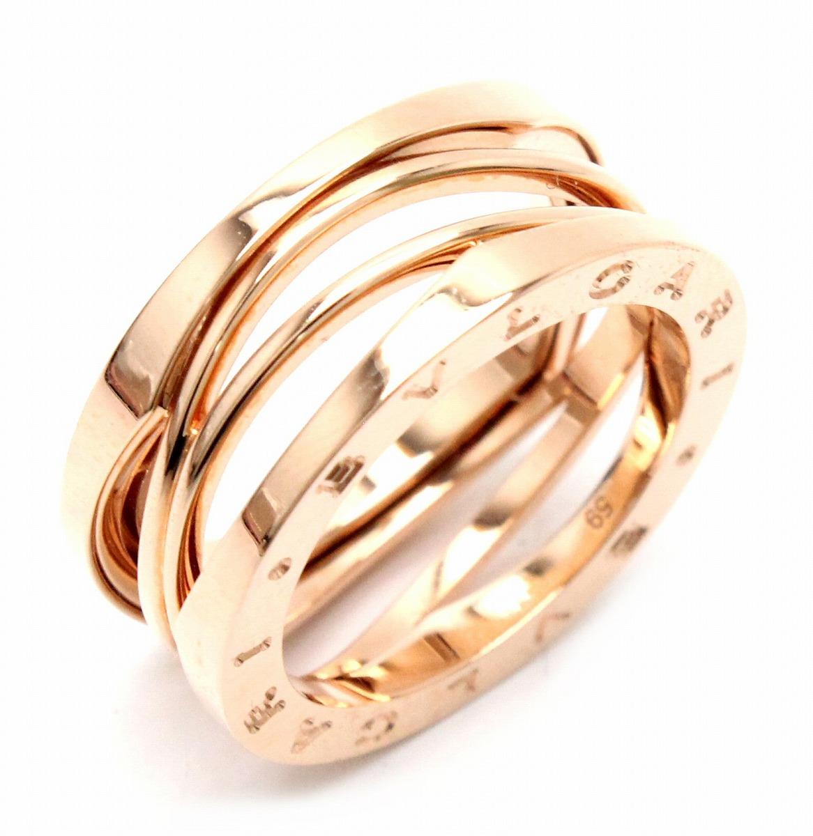 【ジュエリー】BVLGARI ブルガリ B.zero1 ビーゼロワン デザインレジェンドリング 指輪 K1WPG ピンクゴールド 3バンド 19号 #59 AN858029 【中古】【u】