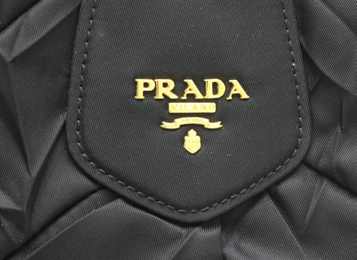 1f9723f97c43 ... バッグ】PRADAプラダギャザーハンドバッグナイロンレザー2WAYショルダーバッグNEROブラック黒ゴールド