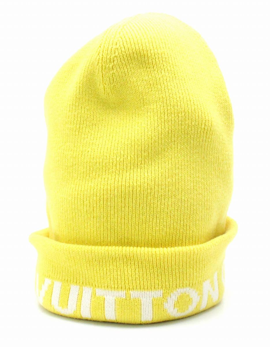 【アパレル】LOUIS VUITTON ルイ ヴィトン ヴィトンカップ ロゴ ニットキャップ ニット帽 帽子 キャップ #TU M コットン85% カシミヤ15% イエロー 黄色 【中古】【k】