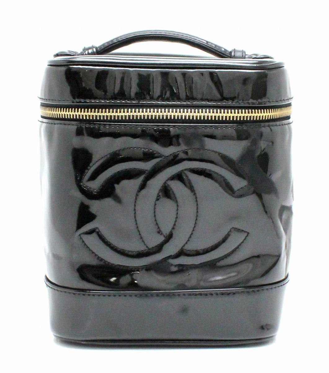 【バッグ】CHANEL シャネル エナメル バニティバッグ ハンドバッグ ココマーク 縦型 黒 ブラック A01998 【中古】【k】