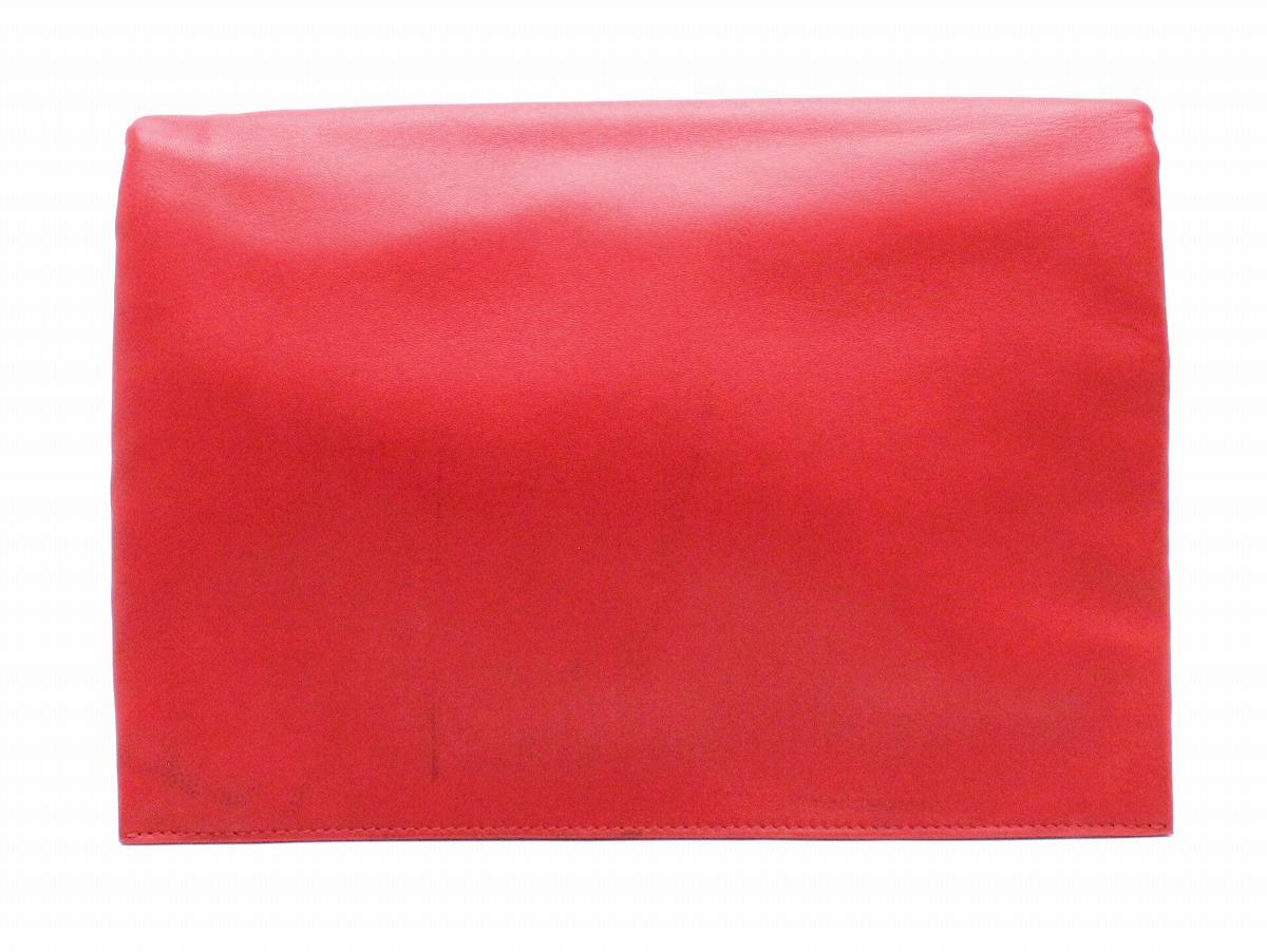 【バッグ】CELINE セリーヌ トリオ ポーチ セカンドバッグ クラッチバッグ ラムスキン カーフスキン レッド 赤 シルバー金具 【中古】【k】