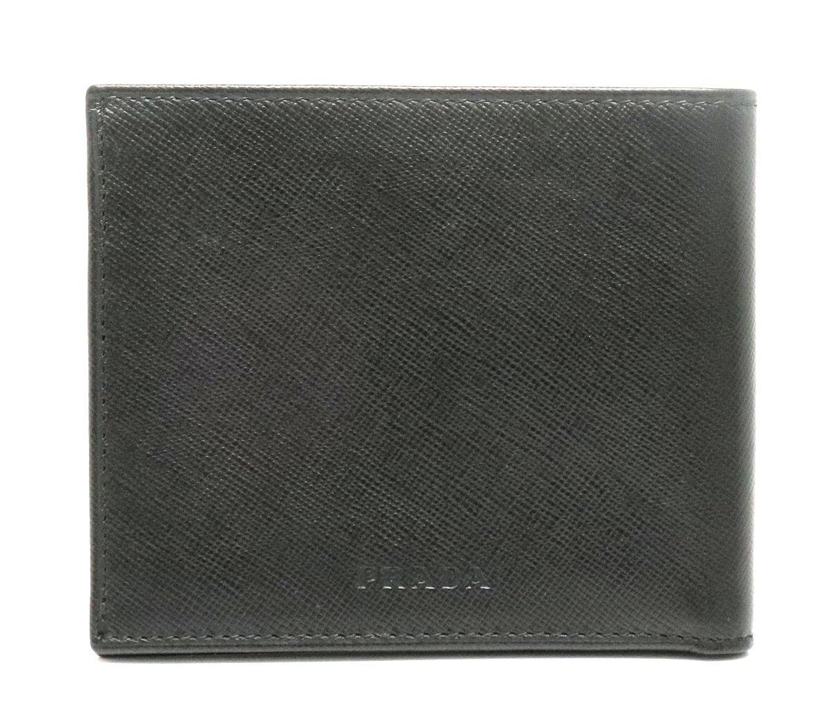 【財布】PRADA プラダ 2つ折 札入れ SAFFIANO サフィアーノ レザー 黒 ブラック 【中古】【k】