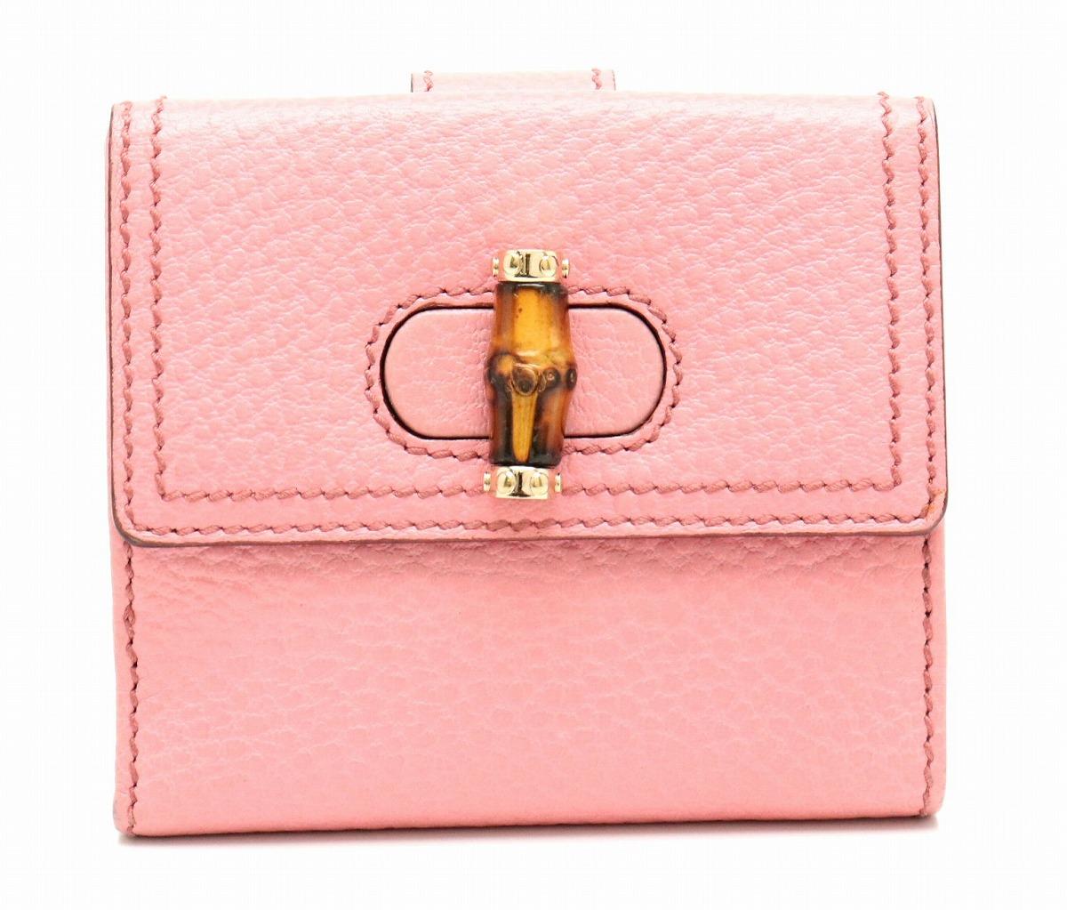 【財布】GUCCI グッチ バンブー Wホック 2つ折財布 レザー ピンク ゴールド金具 138035 0416 【中古】【s】