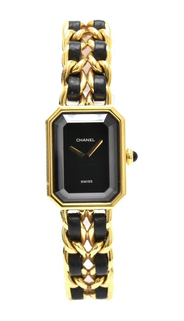 【ウォッチ】CHANEL シャネル プルミエール XLサイズ ブラック文字盤 ゴールドメッキ GP レディース QZ クォーツ 腕時計 ゴールド H0001 【中古】【k】