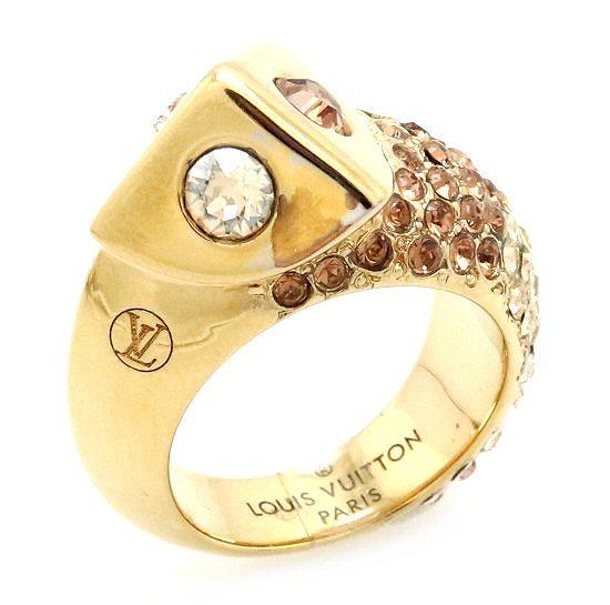 【ジュエリー】LOUIS VUITTON ルイ ヴィトン トランキーズ リング 指輪 ラインストーン GP ゴールド #S 10号 M68052 【中古】【k】