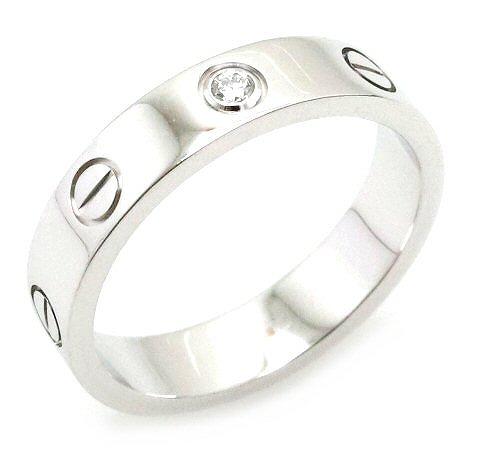 【ジュエリー】【新品仕上げ済】Cartier カルティエ ミニラブリング 指輪 ウエディングリング 1PD ダイヤモンド K18WG ホワイトゴールド 10号 #50 B4050500 【中古】【k】