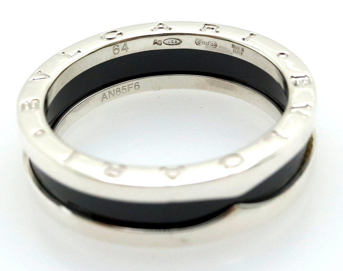 【ジュエリー】【新品仕上げ済】BVLGARI ブルガリ B-zero1 ビーゼロワン セーブザチルドレン リング 指輪 XSサイズ シルバー Ag925 セラミック 黒 ブラック 24号 #64 AN855770 【k】