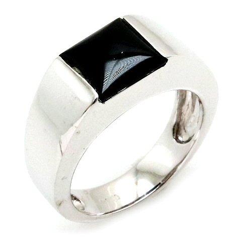 【ジュエリー】【新品仕上げ済】K18WG ホワイトゴールド WG オニキス ファッションリング 指輪 #14 14号 【中古】【k】