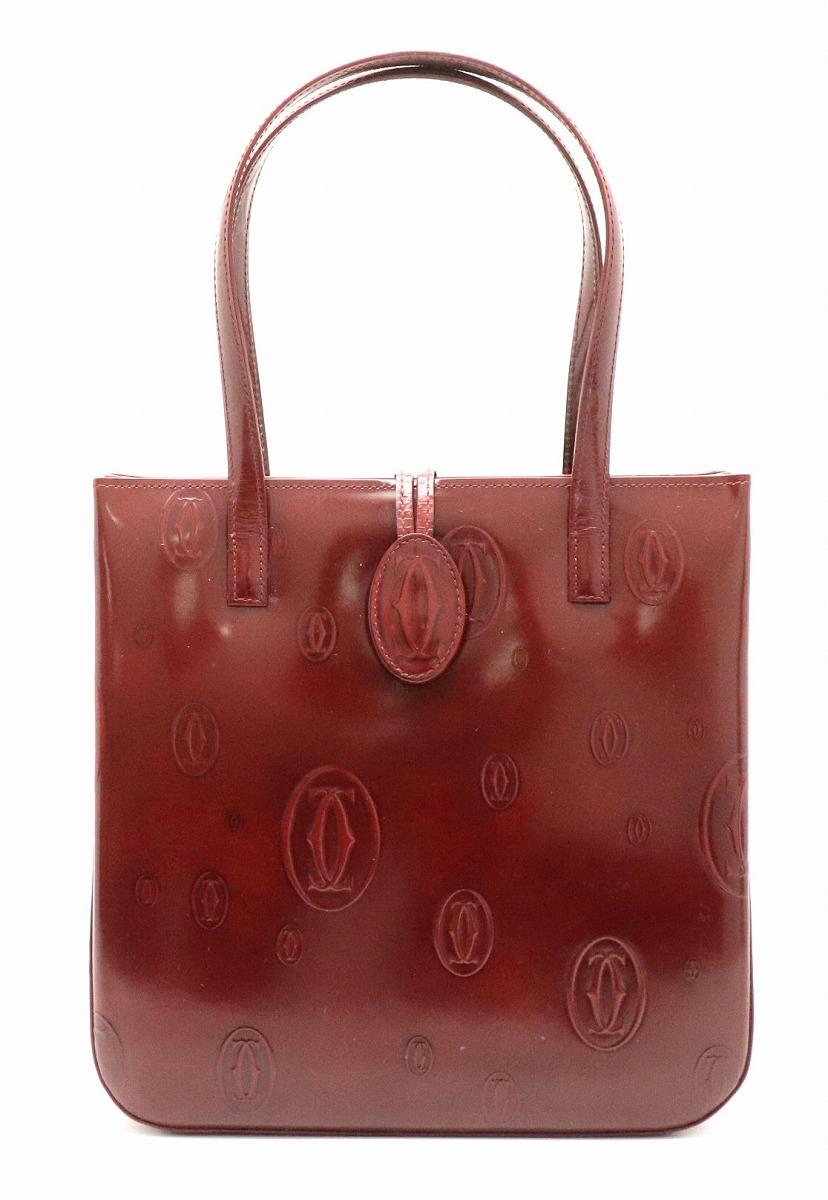 【バッグ】Cartier カルティエ ハッピーバースデー ハッピーバースディ ハンドバッグ レザー エナメルカーフ ボルドー L1000547 【中古】【k】