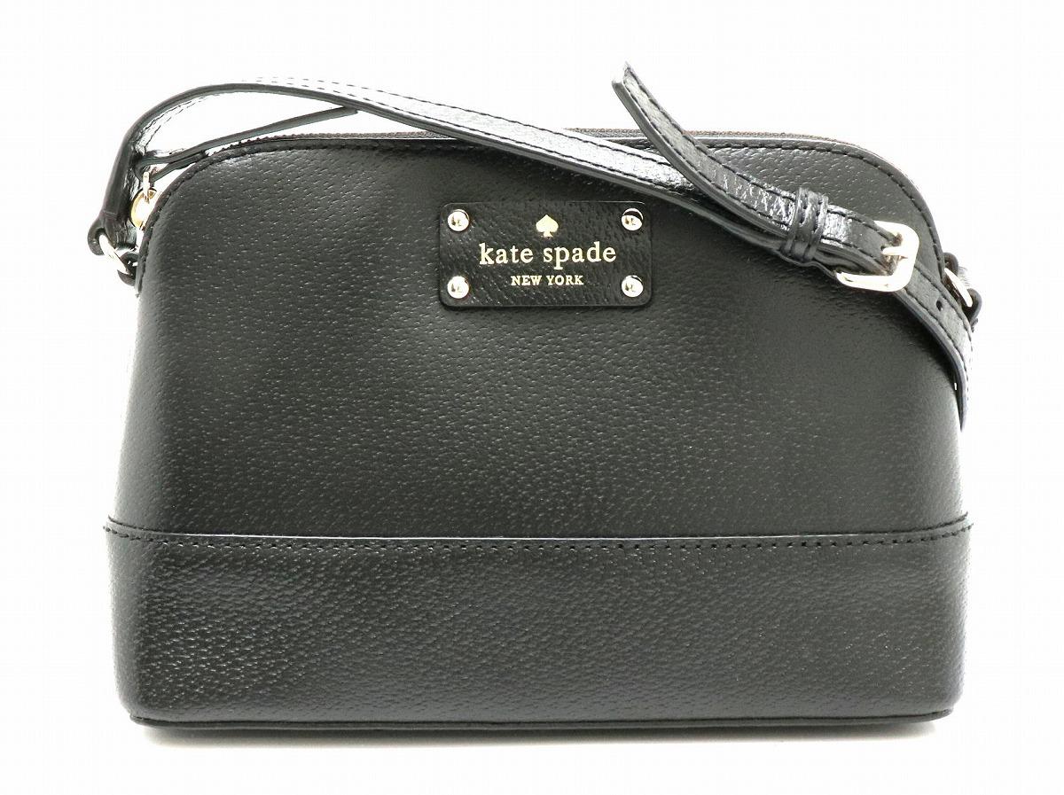 【バッグ】kate spade ケイトスペード ショルダーバッグ 斜め掛け レザー ブラック 黒 ピンク WKRU2895 【中古】【k】