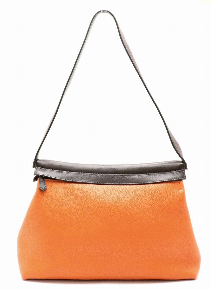 【バッグ】HERMES エルメス ヨーバッグ ワンショルダー セミショルダー ショルダーバッグ トゴ オレンジ ダークブラウン 【中古】【k】