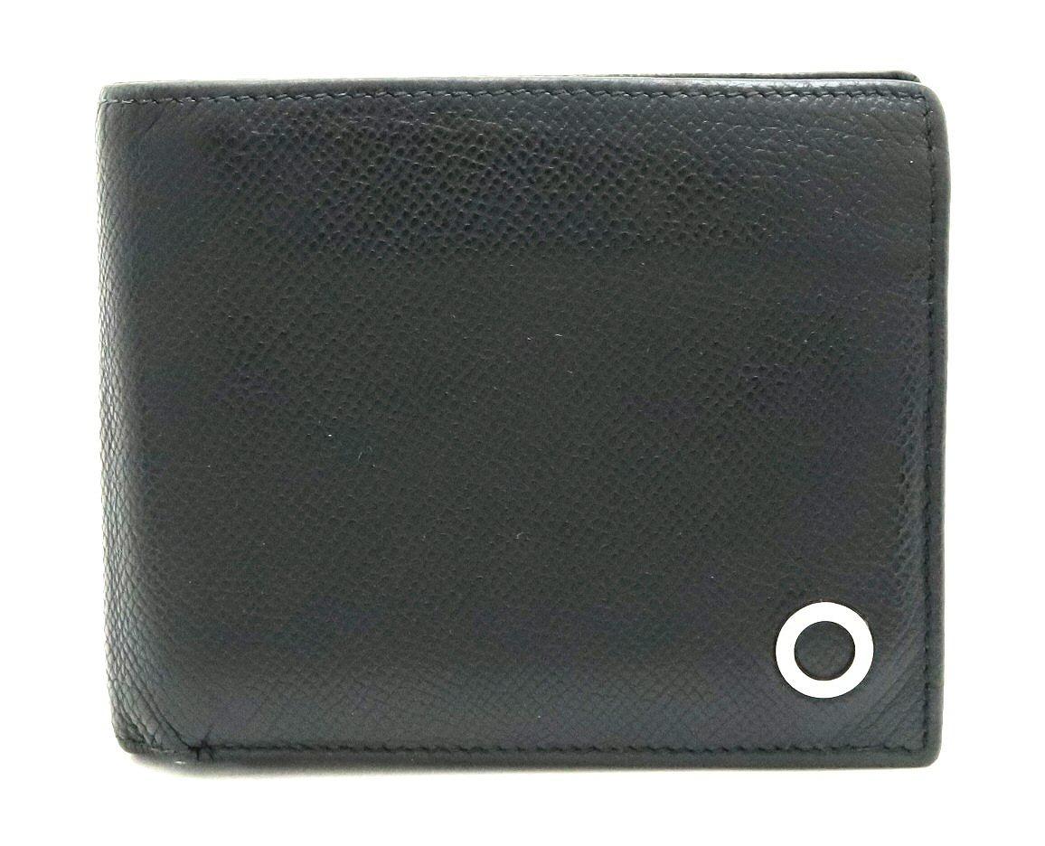 【財布】BVLGARI ブルガリ ブルガリ マン 2つ折財布 札入れ レザー ブラック 黒 メンズ 38116 【中古】【k】