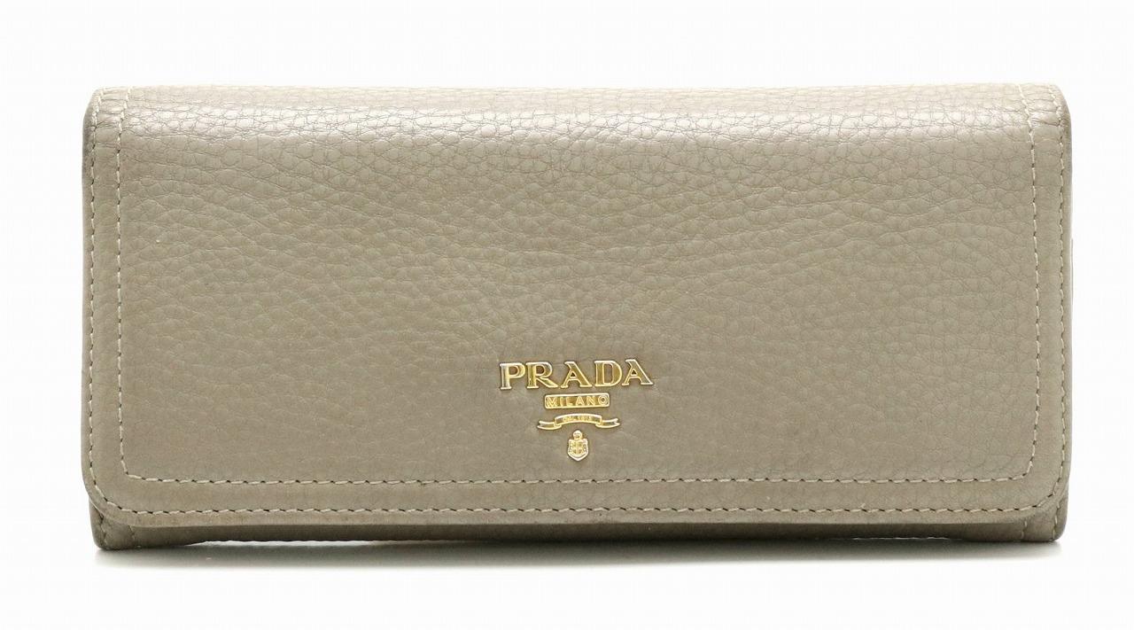 【財布】PRADA プラダ 2つ折り長財布 レザー ARGILLA グレー ゴールド金具 1M1132 【中古】【k】
