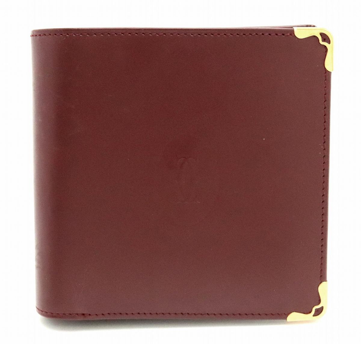 【財布】Cartier カルティエ マストライン 2つ折財布 レザー ボルドー ゴールド金具 L3000451 【中古】【Blumin/森田質店】【質屋出品】【s】