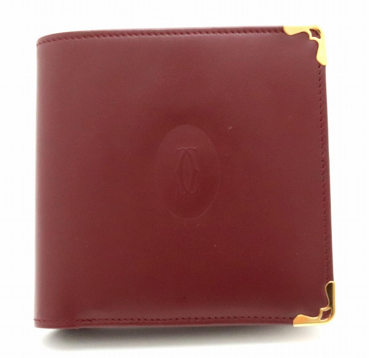 【財布】Cartier カルティエ マストライン マスト ドゥ カルティエ 2つ折 財布 レザー カーフ ボルドー ゴールド金具 L3000451 【中古】【k】