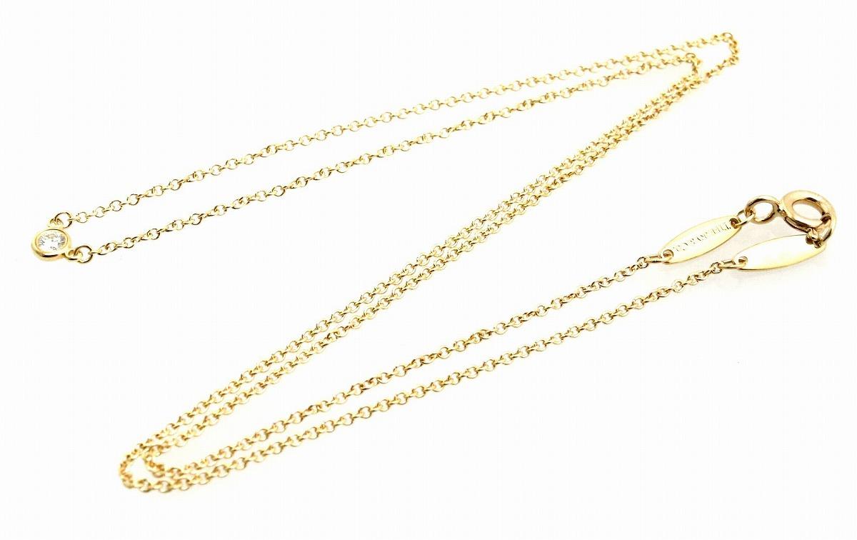 ジュエリー新品仕上げ済 TIFFANY Coティファニー バイザヤード ネックレス ペンダント K18YG イエローゴールド 1PD ダイヤモンド 0 05ctuBlumin 森田質店pSUzqVGM