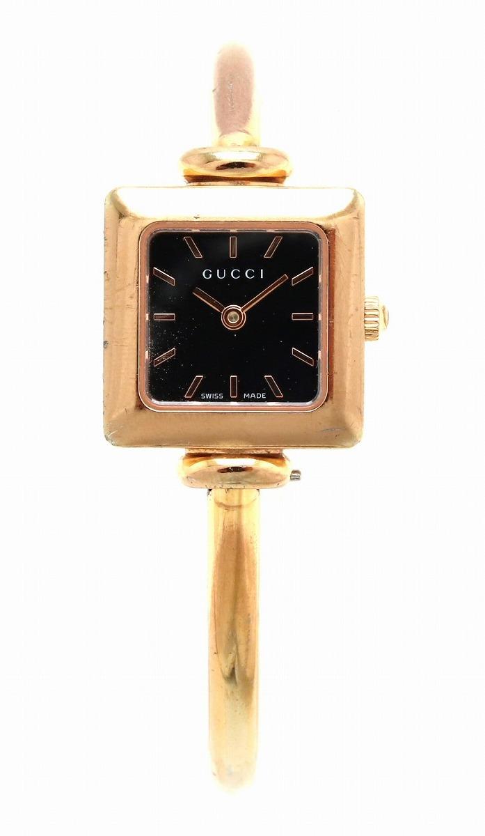【ウォッチ】GUCCI グッチ バングル ウォッチ ブラック文字盤 PGP ピンクゴールドメッキ レディース QZ クォーツ 腕時計 1900L 【中古】【k】