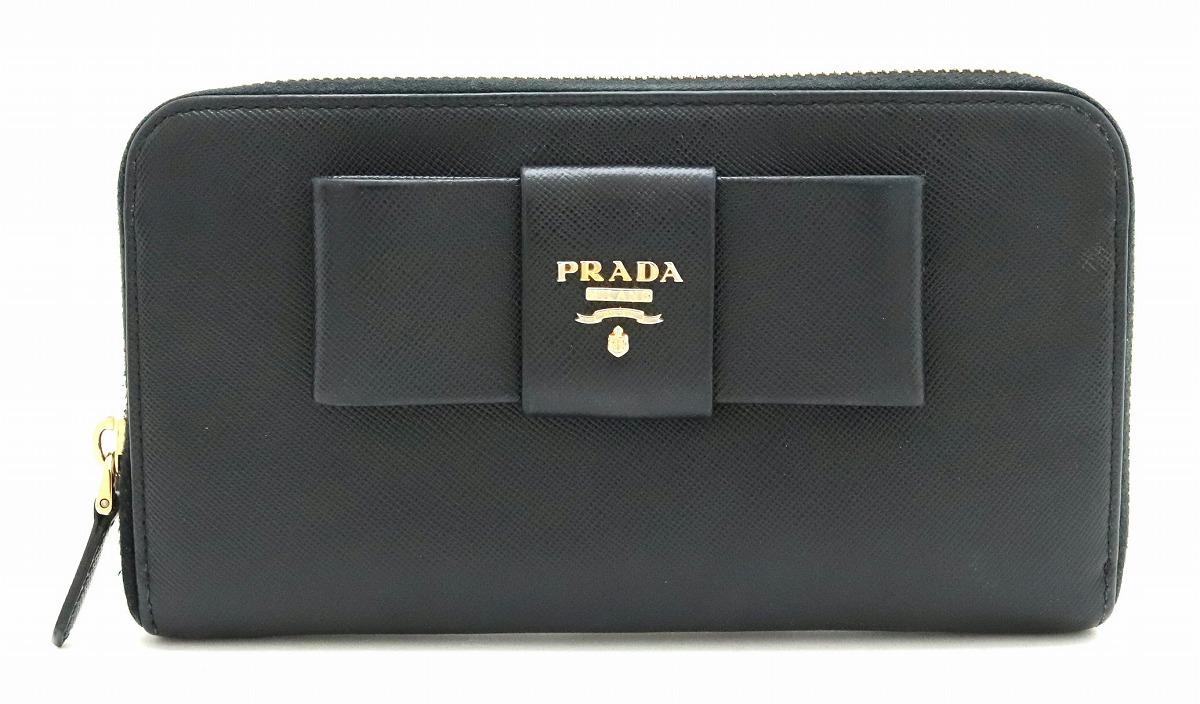 【財布】PRADA プラダ ラウンドファスナー リボン 長財布 型押しレザー 黒 ブラック 1ML506 【中古】【Blumin/森田質店】【質屋出品】【k】