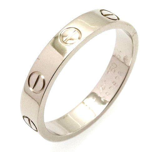 【ジュエリー】【新品仕上げ済】Cartier カルティエ ミニラブリング 指輪 14号 #54 K18WG 750WG ホワイトゴールド B4085100 B4085154 【中古】【k】