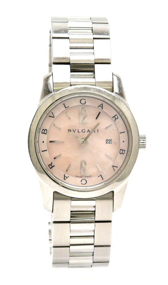 【ウォッチ】BVLGARI ブルガリ ソロテンポ ピンクシェル文字盤 デイト レディース クォーツ 腕時計 ST30S ST30SSD 【中古】【k】