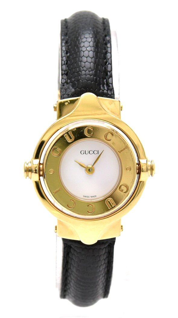 【ウォッチ】GUCCI グッチ 回転式 レディース ウォッチ ホワイト文字盤 SS QZ クォーツ 腕時計 【中古】【u】