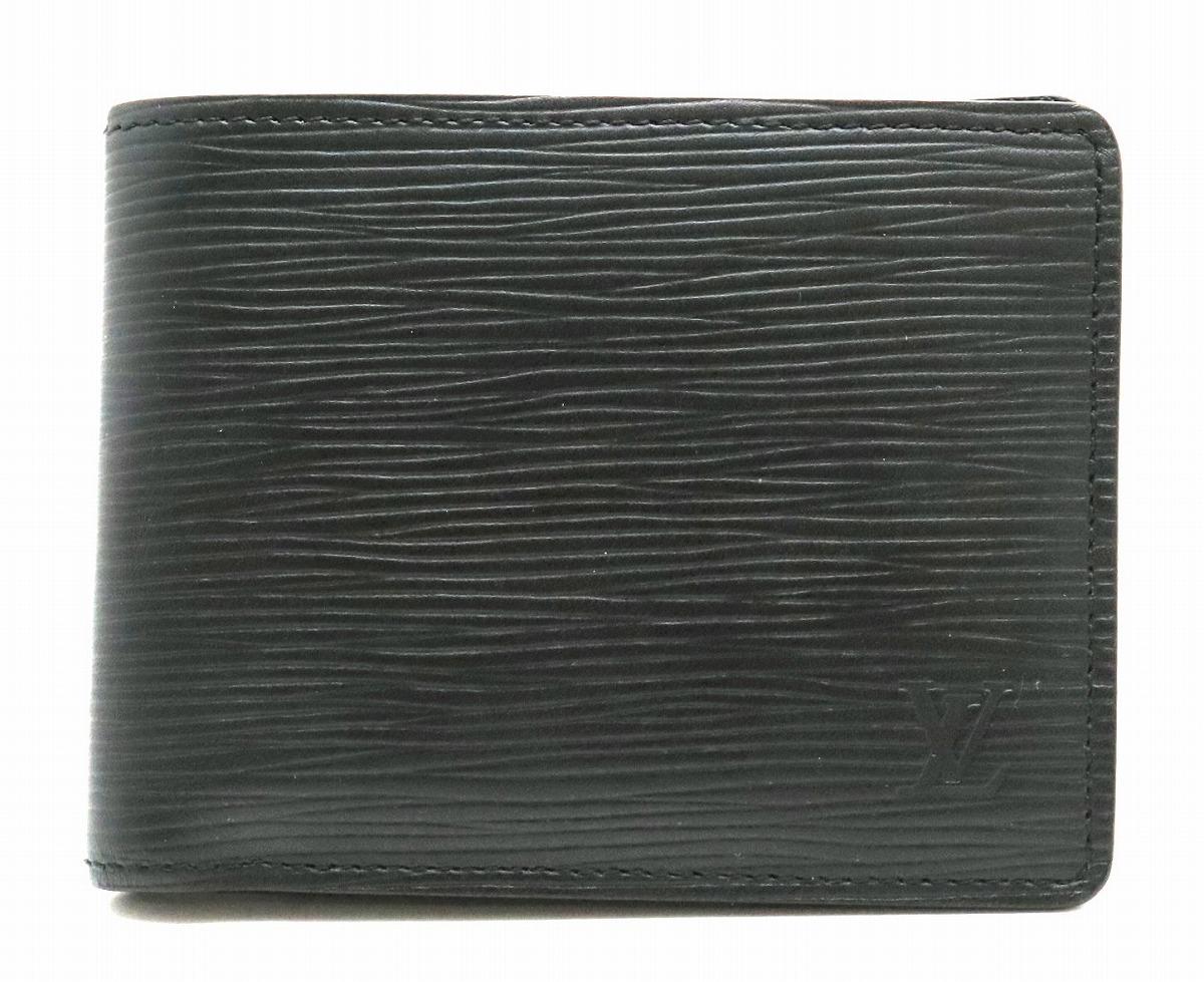 【中古】【s】 ポルトフォイユ エピ ミュルティプル メンズ VUITTON 【財布】LOUIS M60662 ヴィトン レザー 黒 ルイ 2つ折財布 札入れ ノワール ブラック