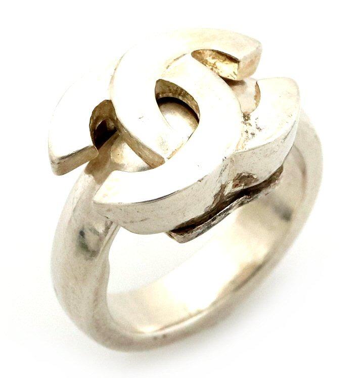 【ジュエリー】CHANEL シャネル ロゴ ココマーク リング 指輪 13号 #13 シルバーカラー 【中古】