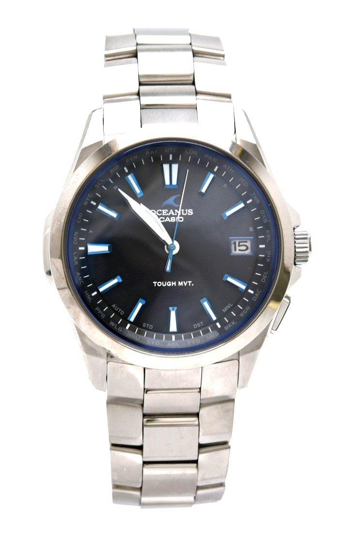 【ウォッチ】CASIO カシオ OCEANUS オシアナス デイト ソーラー 電波時計 ブラック文字盤 タフムーブメント メンズ 腕時計 OCW-S100 【中古】【u】