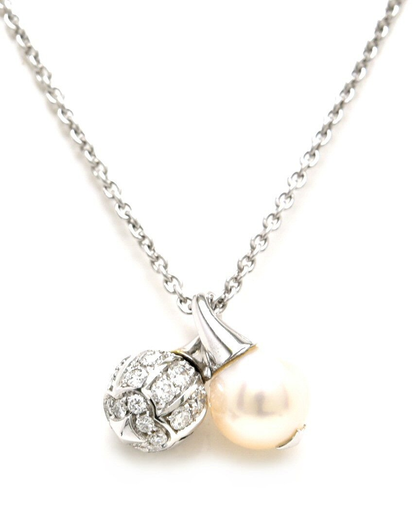【ジュエリー】BVLGARI ブルガリ ネックレス K18WG 750WG ホワイトゴールド ダイヤモンド パール 【中古】【s】