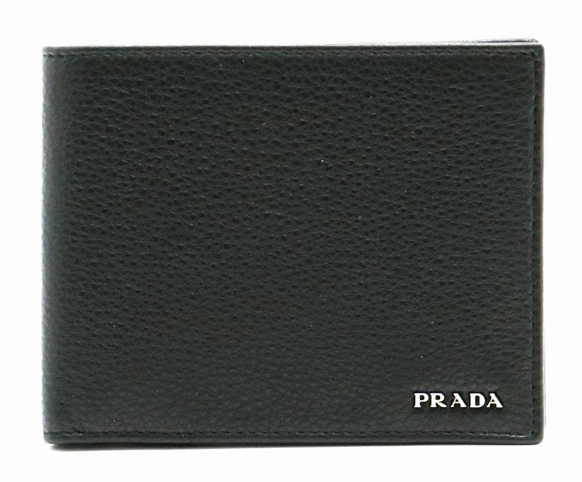 【新品未使用品】【財布】PRADA プラダ VITELLO GRAIN 2つ折財布 レザー 型押し NERO ブラック 黒 国内アウトレット店購入品 2MO002【s】