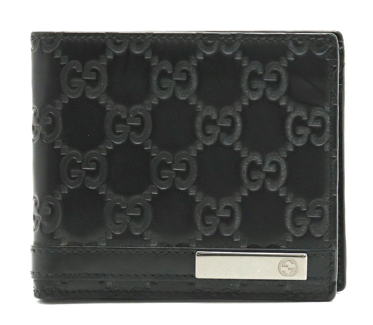 【財布】GUCCI グッチ グッチシマ ロゴプレート 2つ折財布 メンズ レザー ブラック 黒 365481 【中古】
