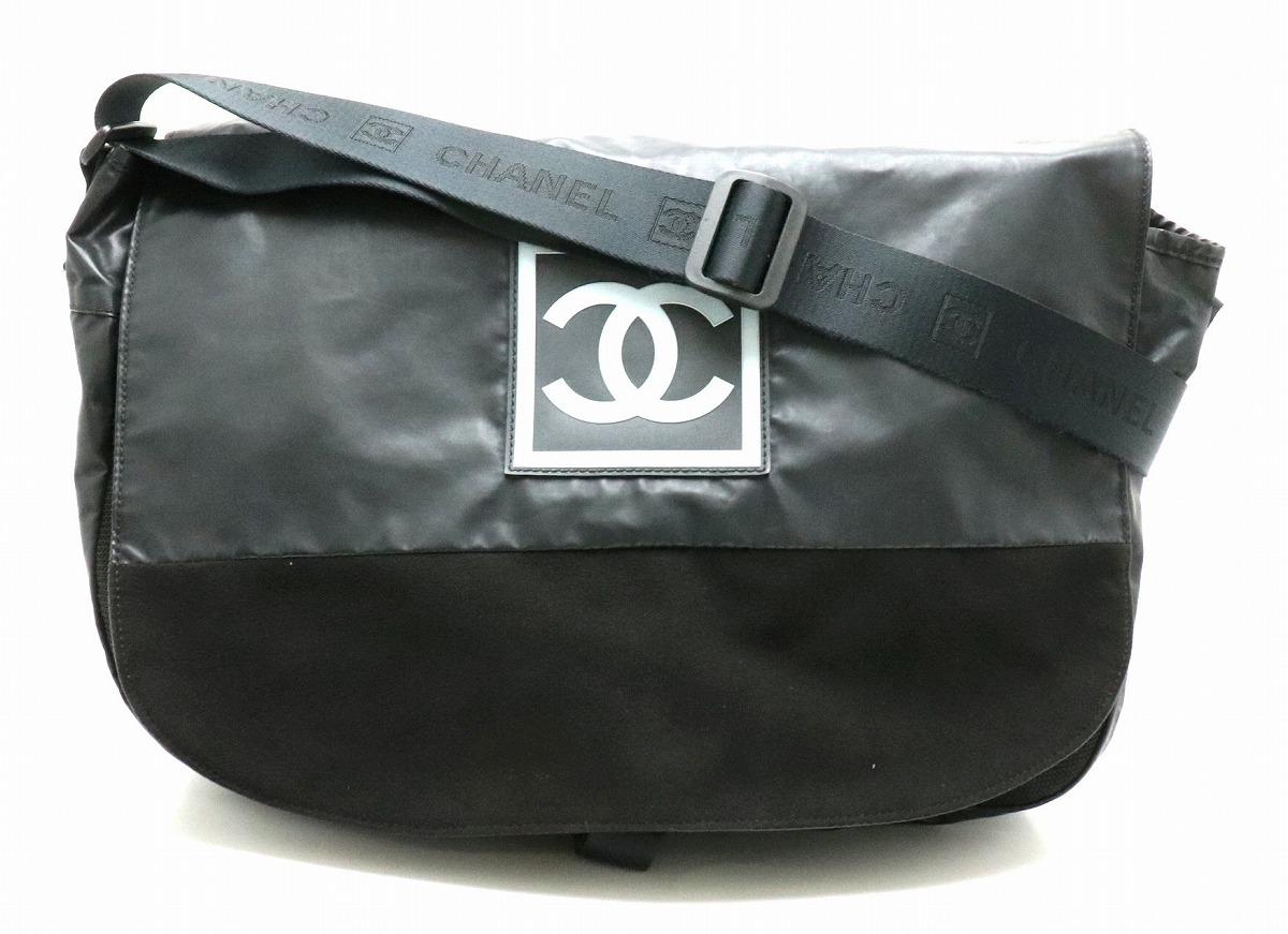 【バッグ】CHANEL シャネル スポーツライン ロゴ ショルダーバッグ メッセンジャーバッグ ラバー スエード メッシュ ブラック 黒 ライトブルー 水色 【中古】